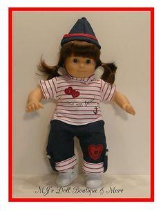 RWB Pants Set fits Bitty Twin Baby American Girl Doll