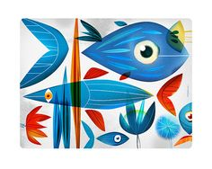 Natural Blue. llustration art giclée print signed by the artist. 40x50cm. on Etsy, 150,69zł