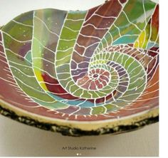 Watercolor polymer bowl by Nevenka Sabo, with vibrant color and variation within the swirling and crackled lines of the nautilus shell design. As seen on The Polymer Arts blog, www.ThePolymerArts.com.