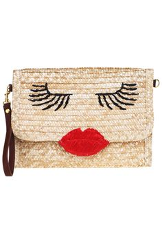 Sexy Red Lips Straw Bag  #bag