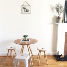 See Louise's dining nook with Scandi influences, on Unboxed now. Featuring the Kitson Round Dining table in Natural Ash and the Kitson Stools, natural Wood and White.