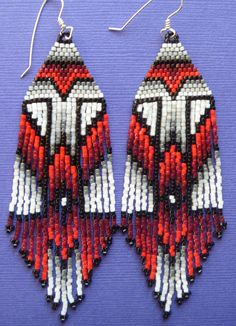 Red Shade Power Earrings by rellendemp on Etsy, $42.00