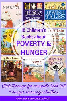 These 18 children's books are ideal for helping kids of all ages understand poverty and develop empathy for people in poverty. Click through for the full book list, plus additional activities that can help children understand the root causes of hunger and Poverty And Hunger, Character Education, Character Development, We Are The World, Library Books, Class Library, Elementary Library, Kids Reading, Reading Lists