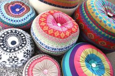 These beautiful and colorful cushions are made from old sweaters