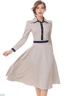 Vintage Style Turn-Down Collar Dress