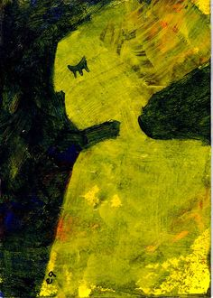 the beauty of her sorrow e9Art ACEO Outsider Art Brut Figurative Painting OOAK