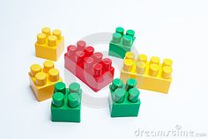 Colorful lego bricks on a white background