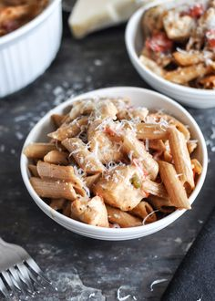 Super Easy Creamy Tomato and Chicken Baked Penne. | howsweeteats.com