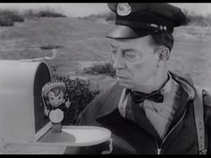 Silent film star Buster Keaton starred in a series of commercials for Alka-Seltzer. Here's a still from one.