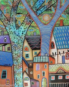 Dwellings CANVAS PAINTING Houses Birds 16x20inch FOLK ART ABSTRACT Karla G