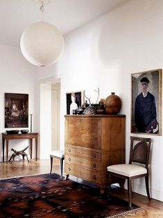 eclectic room with white paper lantern light fixture / sfgirlbybay