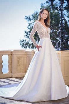 T222056 Luxurious Long Sleeve A line Mikado Gown with Delicate Embroidered and Hand Beaded V Front and Back Bodice Jasmine Bridal, Jasmine Dress, Bridal Wedding Dresses, Designer Wedding Dresses, Girls Dresses, Flower Girl Dresses, Perfect Bride, Dress Attire, Beautiful Prom Dresses