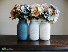 painted mason jars BUT MORE MOTTLED and mixed colors