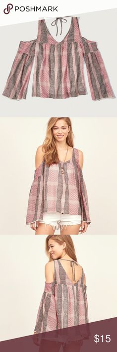 A&F Boho Cold Shoulder Blouse Really cute. Loose and Flowy. The sleeves are Flared out and have a crotchet Trim. The top has a slip underneath so it's not see through. Abercrombie & Fitch Tops Blouses