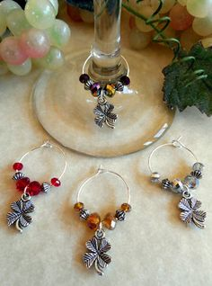 Shamrocks ~ Four Leaf Clovers 4 Wine Charms from #OhSewCute Aprons and More  #Handcrafted
