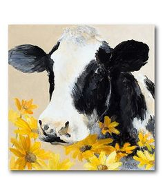 Look what I found on #zulily! Cow & Flowers Wrapped Canvas #zulilyfinds