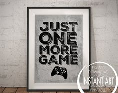 XBOX Controller Print - Just one more Game - xbox - xbox poster - xbox print - teenage boy - room decor - video game poster - gift for teen Game Room Decor, Teen Room Decor, Bedroom Decor, Xbox Controller, Xbox Xbox, Playstation, Teen Game Rooms, Gaming Wall Art, Video Game Posters