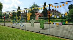 I designed & made the Knit a Bike Installation with lots of help from Deborah New (textile artist & teacher) and the local community Finger Knitting, Arm Knitting, Knitted Bunting, Bicycle Cafe, Mini Tour, Bike Shed, Red Felt, Textile Artists, Sugar And Spice