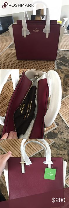Kate spade Hayden New still wrapped up wine and cream color comes with strap and dust bag.  Will trade for something i like. kate spade Bags Satchels