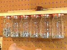 Top 58 Most Creative Home-Organizing Ideas and DIY Projects DIY Mason Jar Garage Organizer – Top 58 Most Creative Home-Organizing Ideas and DIY Projects Shed Organization, Shed Storage, Tool Storage, Garage Storage, Organizing Ideas, Storage Ideas, Small Storage, Jar Storage, Diy Garage