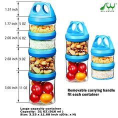 SELEWARE Portable and Stackable 4Piece Twist Lock Panda Storage Jars Snack Container to Contain Formula Snacks Nuts Drinks and More BPA and Phthalate Free 31oz Blue -- Be sure to check out this awesome product. (This is an affiliate link)