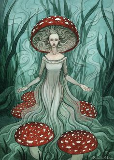 "A card illustration for ""Olde Fae"", a card game by Changeling Artist Collective, which I am a part of. ""Olde Fae"" works like ""Old Maid"", but with pairs . Mushroom Paint, Mushroom Drawing, Bullet Journal Halloween, Fae Aesthetic, Mushroom Images, Art Thou, People Art, Psychedelic Art, Fantasy Illustration"