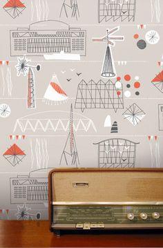 Festival Wallpaper (Stone) - from Mini Moderns
