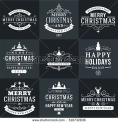 Set of Merry Christmas and Happy New Year Decorative Badges for Greetings Cards or Invitations. Vector Illustration in White and Black Colors