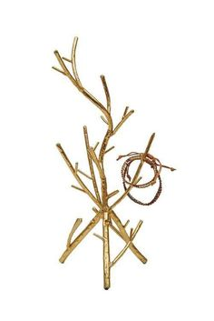 Gold Twig Jewelry Holder one from real branches? Jewelry Tree, Jewelry Stand, Jewelry Holder, Metal Jewelry, Jewelry Box, Jewellery Storage, Jewellery Display, Jewelry Organization, Gold Jewellery
