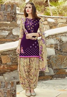 Readymade Purple Cotton Cambric #PatialaSuit  #Readymade #Suit #nikvik #sale # dress #designer #usa  #australia #canada #freeshipping #suits #pakistani