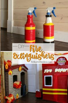DIY Fire Extinguishers Such a cute & easy fireman craft of kids. Make your own fun with these DIY Fire Extinguishers. Fun Fireman duct tape craft for kids to make & role play. Fireman Party, Firefighter Birthday, Fireman Sam, Diy Fireman Costumes, Fireman Crafts, Firefighter Crafts, Crafts For Kids To Make, Fire Extinguisher, 4th Birthday Parties