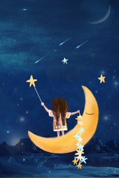Cute Disney Wallpaper, Cute Cartoon Wallpapers, Illustration Art Dessin, Mode Poster, Pastel Art, Moon Art, Whimsical Art, Good Night, Night Night