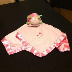 Mary Meyer Baby Ladybug Security Blanket Lovey Plush Satin Pink Gingham Flower