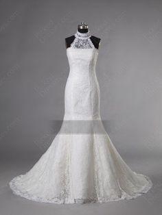 Find Wholesale - Trumpet/Mermaid High Neck Lace Sweep Train White Wedding Dress at Pickeddresses.com