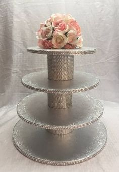 Cupcakes, 4 Tier Round Cupcake Stand, Silver or Gold Embossed Cake Drums, Rhinestone Mesh, Wed Graduation Decorations, Birthday Party Decorations, Wedding Decorations, Birthday Parties, Bling Cupcakes, Silver Cupcakes, Wedding Cake Stands, Cupcake Stands For Weddings, Diy Cupcake Stand