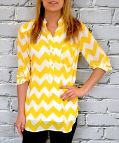Look at this Olivia & Jane Yellow Chevron Button Front Tunic on #zulily today!