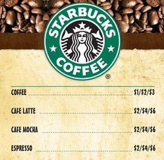 We have added the complete Starbucks menu with prices below, including the Starbucks Breakfast menu, Frappuccino & Coffee Menu and ever popular Starbucks Secret menu.