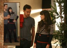 """Striped Turtleneck with red trim and black box pleat skirt New Girl """"Landlord"""" episode - s01e12"""