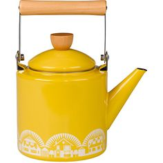 Mini Moderns Enamel Kettle - Mustard (165 BRL) ❤ liked on Polyvore featuring home, kitchen & dining, cookware, kitchen, decor, other, yellow, enamel kettle, modern kitchen accessories and enamel cookware