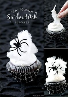 Learn how to use cotton candy to make Spider Web Halloween Cupcakes that are both spooky and sweet! Learn how to use cotton candy to make Spider Web Halloween Cupcakes that are both spooky and sweet! Halloween Desserts, Hallowen Food, Bolo Halloween, Theme Halloween, Hallowen Ideas, Halloween Baking, Halloween Goodies, Halloween Food For Party, Halloween Birthday