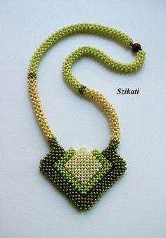 FREE SHIPPING Green Seed Bead Statement Beadwork by Szikati