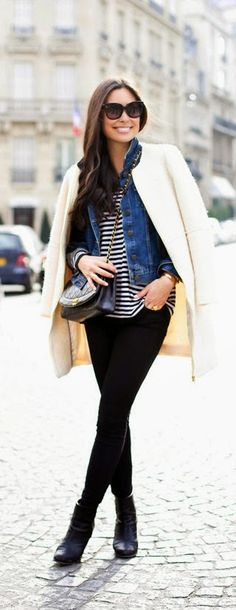 Casual Outfit In Paris - denim jacket and stripes sweater, zara coat and black bone booties / With Love From Kat