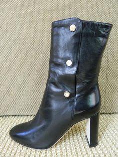 Jimmy Choo Dayno Boots High Heel Black Leather Side Snaps NIB $1425 37 1/2 #JimmyChoo #MidCalfBoots