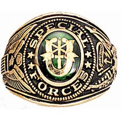 Green Berets Special Forces Patch | US Army Special Forces Green Beret Insignia Ring 18K Heavy Gold Plated ...