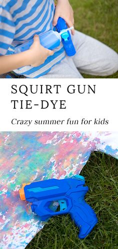 Kids of all ages will enjoy using squirt guns to create colorful, tie-dyed t-shirts. It's the perfect summer art activity for kids! Summer Crafts For Kids, Crafts For Kids To Make, Crafts For Girls, Kid Crafts, Summer Ideas, Summer Art Activities, Craft Activities, Science Crafts, Children Activities