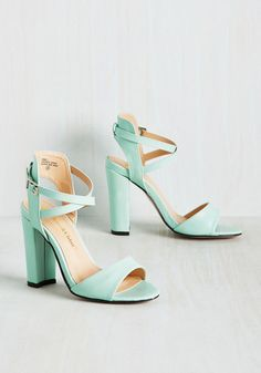 Flourishing Courage Heel - Mint, Solid, Daytime Party, Graduation, Pastel, Summer, Good, Chunky heel, Strappy, Green, Pastel, High, Faux Leather, Prom, Wedding, Party, Cocktail, Girls Night Out, Bridesmaid, Wedding Guest