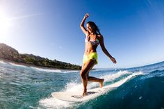 Kelia Moniz surfing in the sun