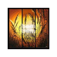 Obraz przedstawiający zachód słońca w źdźbłach trawy