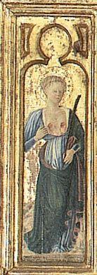 """Giovanni Boccati da Camerino - Sant'Agata, dettaglio """"Pala di  Belforte"""" - 1468  - Chiesa di Sant'Eustachio, Belforte del Chienti (Macerata nelle Marche)"""