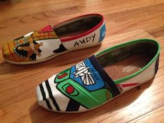 Custom Hand-Painted Toy Story Buzz Lightyear and Woody Toms Shoes (All Requests Accepted). $75.00, via Etsy.